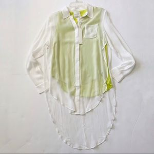 Line and Dot High Low Button Down Blouse